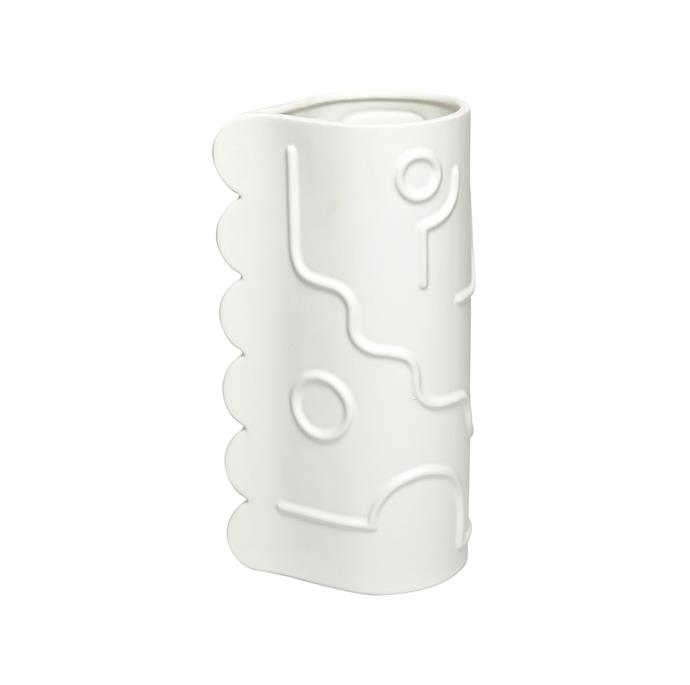 "Memphis white vase, $220, from [Fenton&Fenton](https://www.fentonandfenton.com.au/products/vase-memphis-natural-white?variant=30327065149530|target=""_blank""|rel=""nofollow"")"