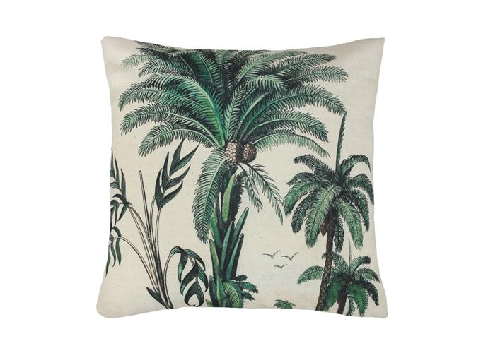 "HK Living palm trees cushion, $69, from [House of Orange](https://www.houseoforange.com.au/collections/cushions/products/printed-cushion-palm-trees|target=""_blank""