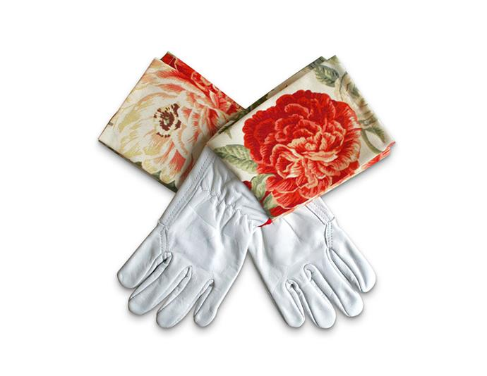 "Protective cuff leather gardening gloves in coral blooms, $66.40, from [Hard to Find](https://www.hardtofind.com.au/158399_protective-cuff-leather-gardening-gloves-in-coral-blooms|target=""_blank""