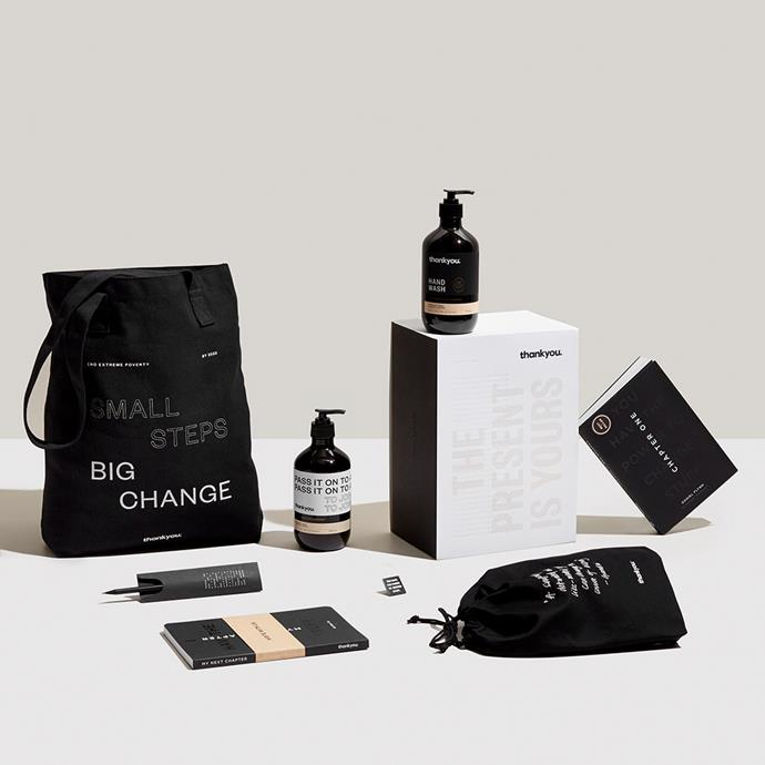 "Social enterprise Thankyou offers eco-aware bodycare, food and baby products, and directs all profits to people in need. <br><br> Ultimate World Changer Kit, $55 at [Thankyou](https://thankyou.co/products/ultimate-world-changer-christmas-gift-set|target=""_blank""