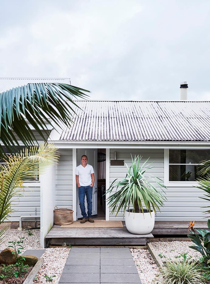 Ian at the doorway to the renovated cottage. It's thought the dairy bails was built in the early 1960s; the original dairy farm spanned from Bangalow to Federal before it was subdivided in the 1970s and redeveloped as a mango farm.