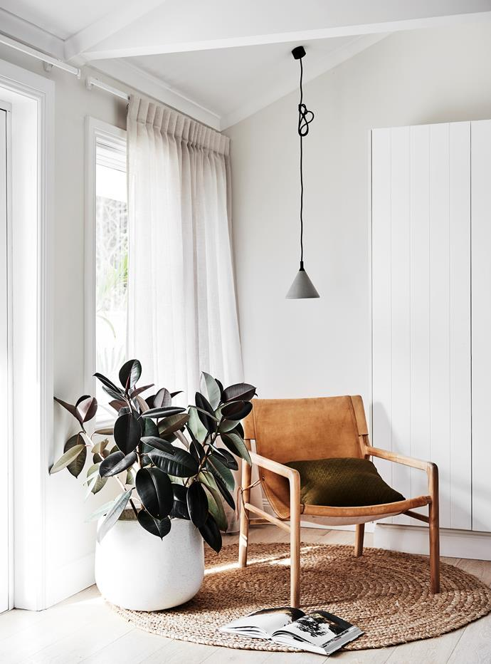 The small concrete pendant is from Remodern and the armchair  is from Worn in Bangalow.