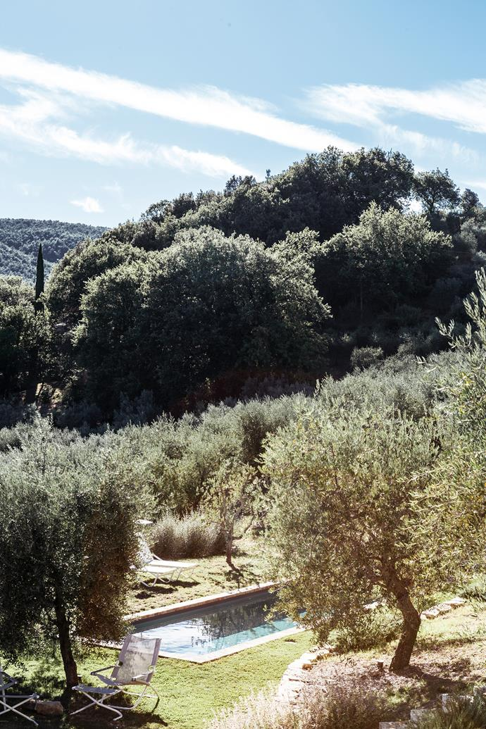 Located in Umbria, which is known as the green heart of Italy, the villa has a swimming pool, outdoor entertaining area and garden, which Doris rejuvenated after moving in.