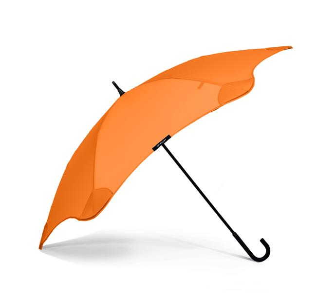 "BLUNT lite umbrella in orange, $119, from [Blunt](https://bluntumbrella.com.au/collections/umbrellas/products/lite?variant=5296163323945/|target=""_blank""