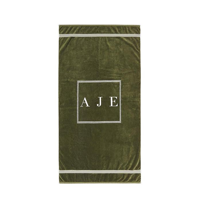 "Aje, logo classical towel in khaki, $115, from [Aje](https://ajeworld.com.au/products/aje-logo-classic-towel-khaki-white?_pos=3&_sid=63ec2f5d0&_ss=r/|target=""_blank""