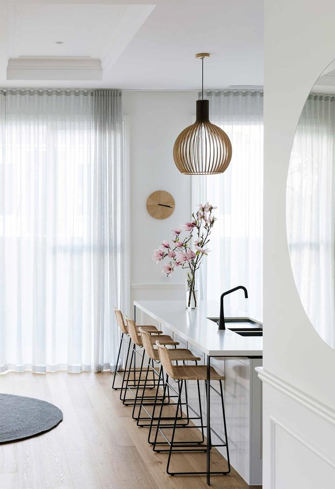 "**Kitchen** Delicate sheer curtains from Bracken Blinds and textural rattan stools from [Open Room](https://www.openroom.com.au/|target=""_blank""