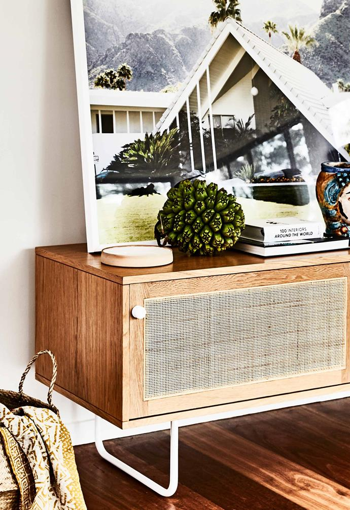 "In this [Gold Coast home](https://www.homestolove.com.au/pavilion-style-home-6808|target=""_blank"") natural textures abound like in this striking sideboard."