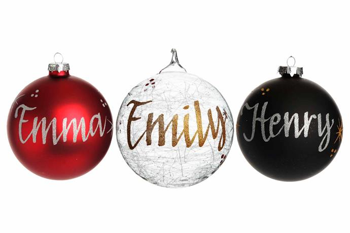 """Personalised Christmas bauble, from $14.95, [The Christmas Cart](https://www.thechristmascart.com.au/christmas-baubles/personalised-christmas-baubles.html
