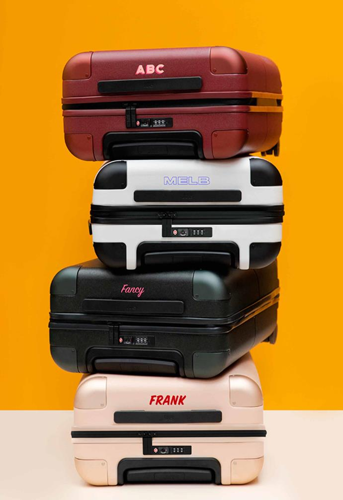 """July Carry On suitcase, $295 (without personalisation), [July](https://july.com/au-en/products/the-perfect-carry-on