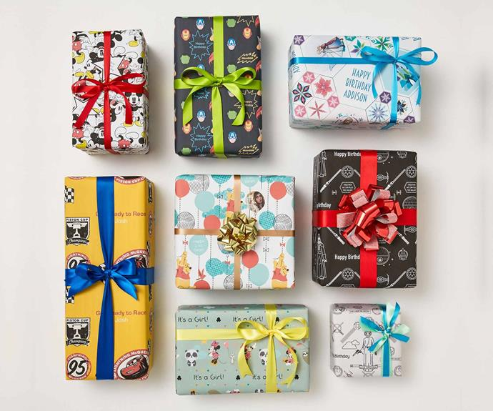 Custom wrapping paper, $5.95-$9.95, Officeworks.   Take your gifting to the next level with wrapping paper that can be as personal as you like!