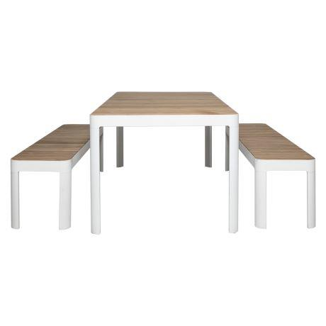 """This three piece outdoor furniture set offers style and practicality for outdoor entertaining. Featuring modern clean lines and micro-slat surfaces the natural wooden look will suit any garden.  Adelphi 3 piece outdoor dining set in teak & aluminium, $2299, [Freedom](https://www.freedom.com.au/outdoor/outdoor-dining/outdoor-dining-packages/23662742/adelphi-3-piece-outdoor-dining-set-teak-aluminium?reflist=outdoor/outdoor-dining