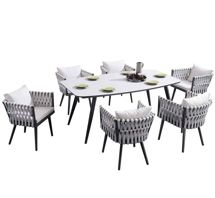 """This dining setting looks so comfortable it could very well eliminate the need for an additional outdoor lounge.    Indosoul 6 Seater Crown metal & fabric outdoor dining set, $6999, [Temple & Webster](https://www.templeandwebster.com.au/6-Seater-Crown-Metal-and-Fabric-Outdoor-Dining-Set-INDS1057.html