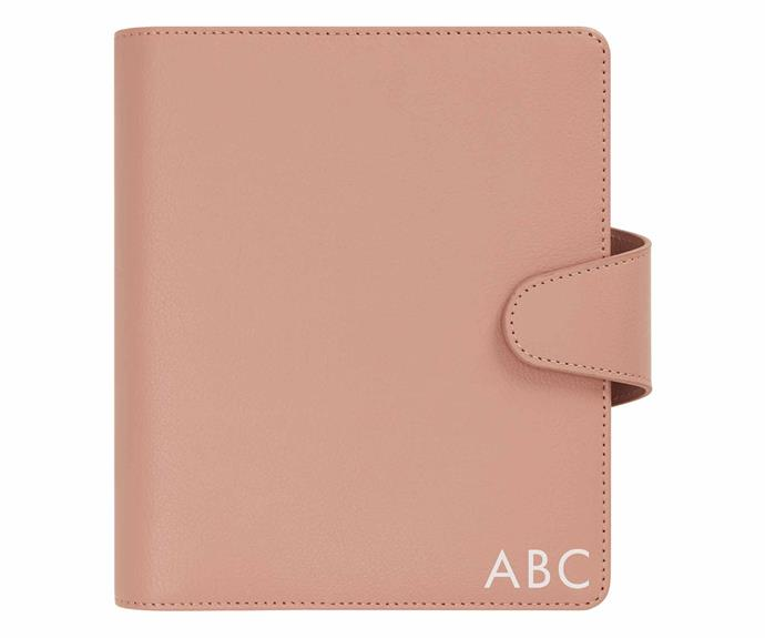 """Leather personal planner medium in vintage rose, $79.99 (without personalisation), [Kikki. K](https://www.kikki-k.com/au/personalisation/leather-personal-planner-medium-vintage-rose-signature-edition-11512904.html?cgid=personalisation#start=1
