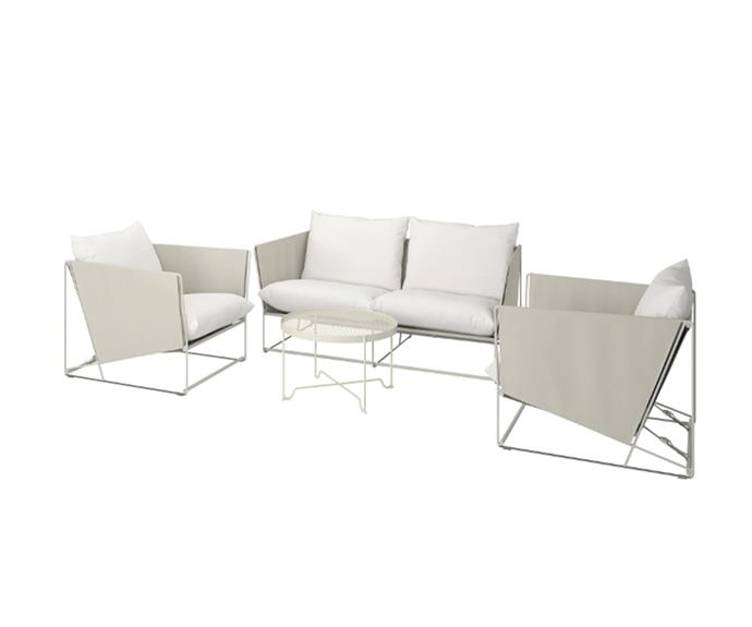 """This Scandi-inspired outdoor lounge setting will blur the lines between indoors and out thanks to its sleek design.   HAVSTEN 4-seat conversation set in Beige, $1519, [IKEA](https://www.ikea.com/au/en/catalog/products/S19251989/