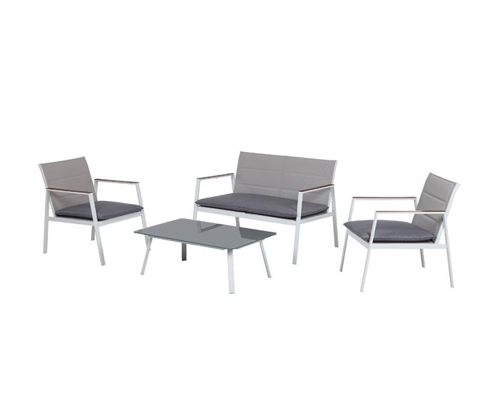 """This setting includes two comfortable one-seaters, one two-seater chair, and matching glass top coffee table at an incredibly affordable price point.   Mimosa 4 piece Venus conversation lounge setting, $249, [Bunnings](https://www.bunnings.com.au/mimosa-4-piece-venus-conversation-lounge-setting_p0108618