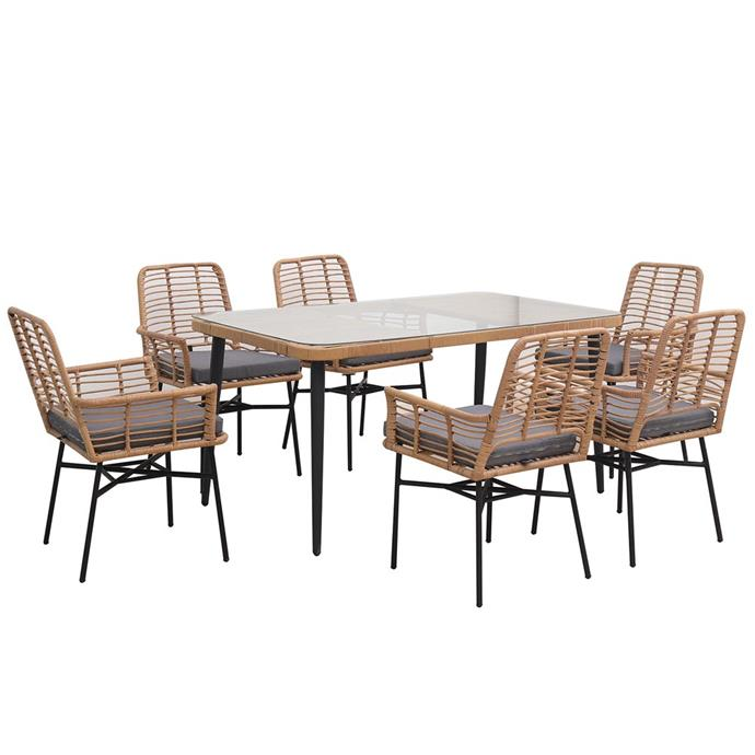 """Embrace the cane and wicker furniture trend with this stylish and affordable outdoor setting.   Garvey 6-seater rope wicker outdoor dining set, $799, [Luxo Living](https://www.luxoliving.com.au/garvey-6-seater-rope-wicker-outdoor-dining-furniture-set
