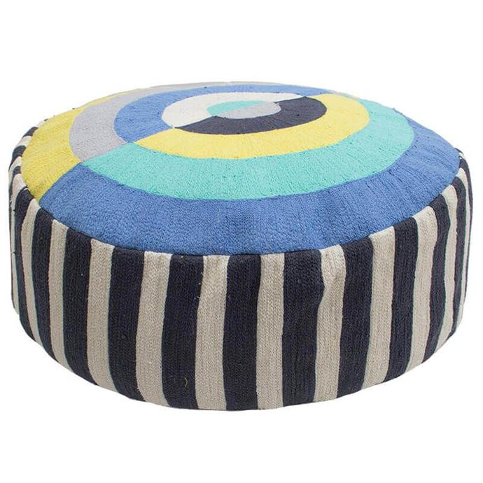 "'Spectrum' floor cushion in Fiesta, $249.95, [Bambury](https://bambury.com.au/spectrum-floor-cushion-fiesta|target=""_blank""