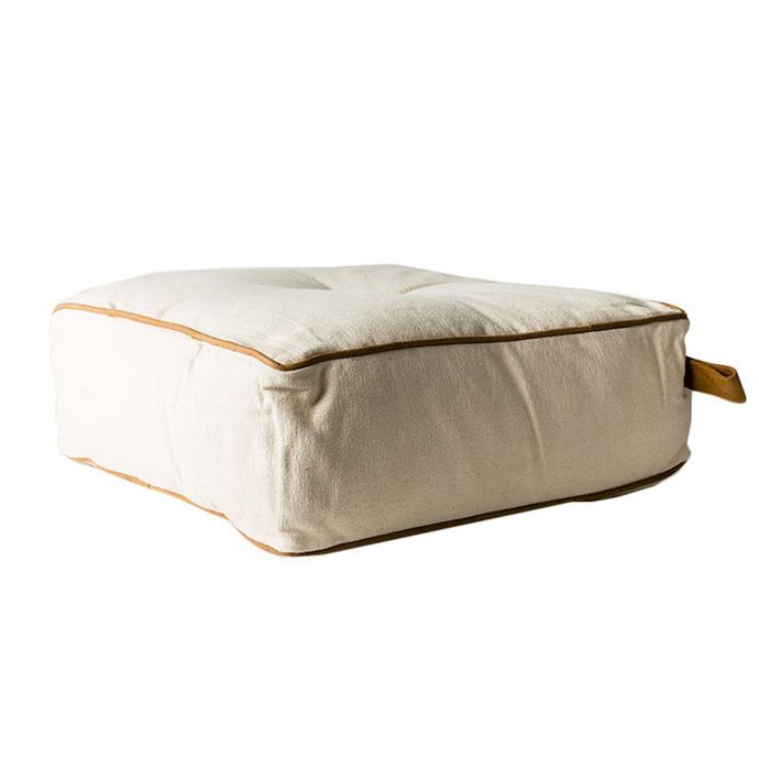 "MrJasonGrant Square Utility Cotton & Leather floor cushion, $185, [Temple & Webster](https://www.templeandwebster.com.au/Square-Utility-Cotton-and-Leather-Floor-Cushion-9333793035036-MRJG1015.html|target=""_blank""