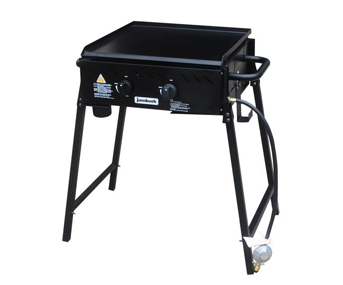 "Jumbuck 'Delta' 2-burner flat barbecue with folding legs, $98, [Bunnings](https://www.bunnings.com.au/|target=""_blank""