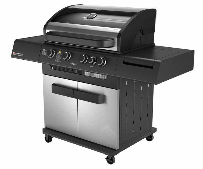 "Matador 'Conquest' 4 -burner hooded barbecue (above), $649, [Bunnings](https://www.bunnings.com.au/|target=""_blank""