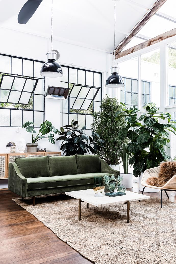 Between lush indoor plants and green accents, this living room makes for a calm, stress-free space.