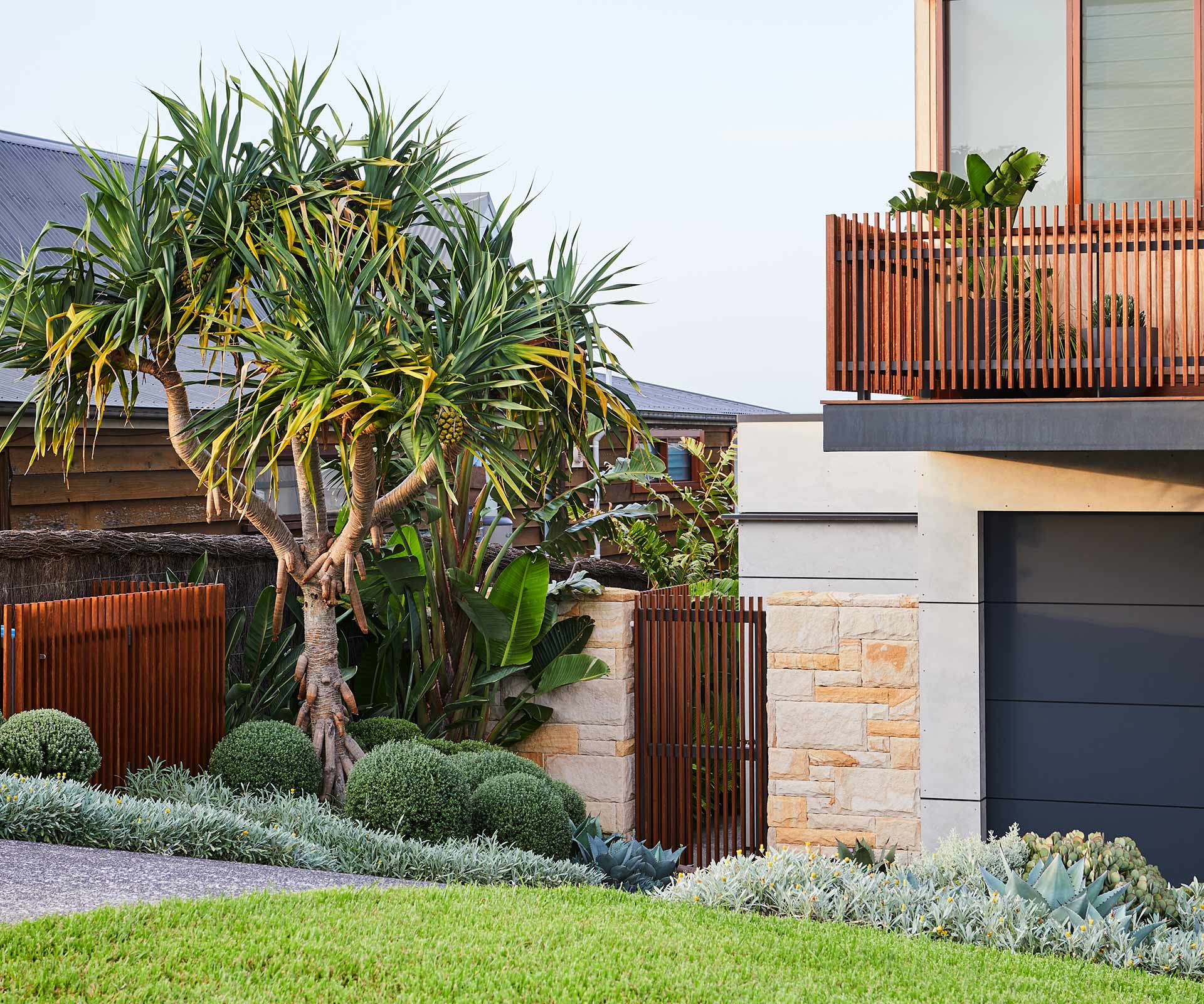 A headland garden with hardy succulents and low-maintenance plants
