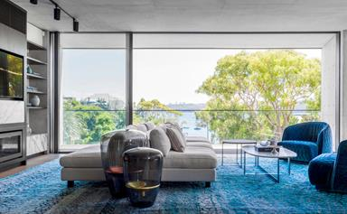 An ultra-modern home with harbour views and lush tropical gardens