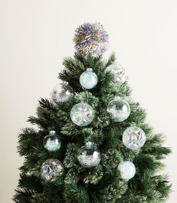 "Snowflake transparent tinsel in Iris/White, $9.95 for 2m, [David Jones](https://www.davidjones.com/christmas|target=""_blank""