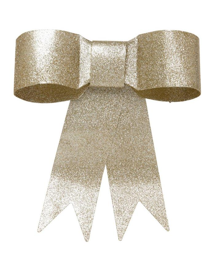 "Luxe Metal Ribbon Bow tree topper in gold-tone, $19.99, [Myer](https://www.myer.com.au/p/myer-giftorium-luxe-metal-ribbon-bow-tre-topper-in-gold-tone|target=""_blank""