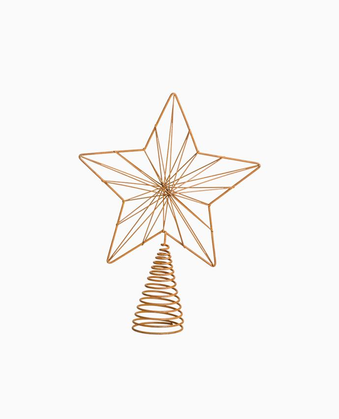 "Yuletide metal tree topper in Rust, $19.95, [Papaya](https://www.papaya.com.au/yuletide-metal-tree-topper-rust|target=""_blank""