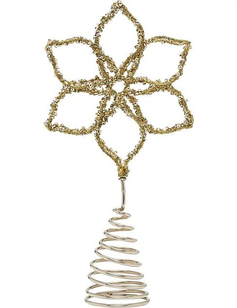 "Gold & Silver Beaded Sequin Flower tree topper, $19.95, [David Jones](https://www.davidjones.com/Product/22593737/Gold--Silver-Beaded-Sequin-Flower-Topper|target=""_blank""