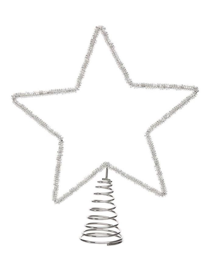 "*Australian House & Garden* 'Eucalyptus' Silver Beaded Metal Star tree topper, $29.99, [Myer](https://www.myer.com.au/p/eucalyptus-30cm-silver-beaded-metal-star-tree-topper-610535620|target=""_blank""