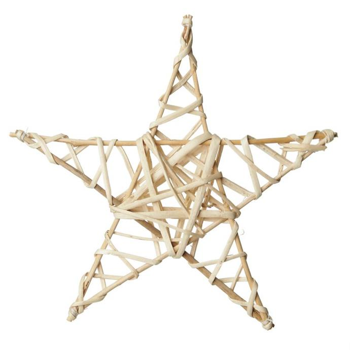 "Natural Woven Star, $4.95, [The Christmas Cart](https://www.thechristmascart.com.au/christmas-decorations/natural-woven-star.html|target=""_blank""