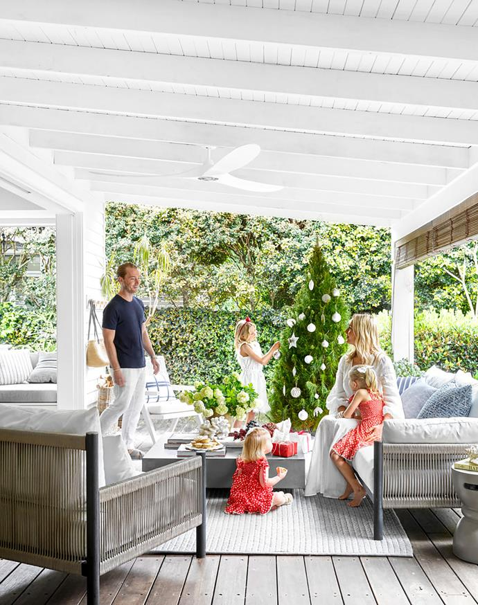 e covered outdoor area is a favourite spot for family time. Anthony designed the Architect outdoor sofa and lounge chair. Annika scatter cushions and Bahamas indoor/outdoor rug, all Coco Republic.