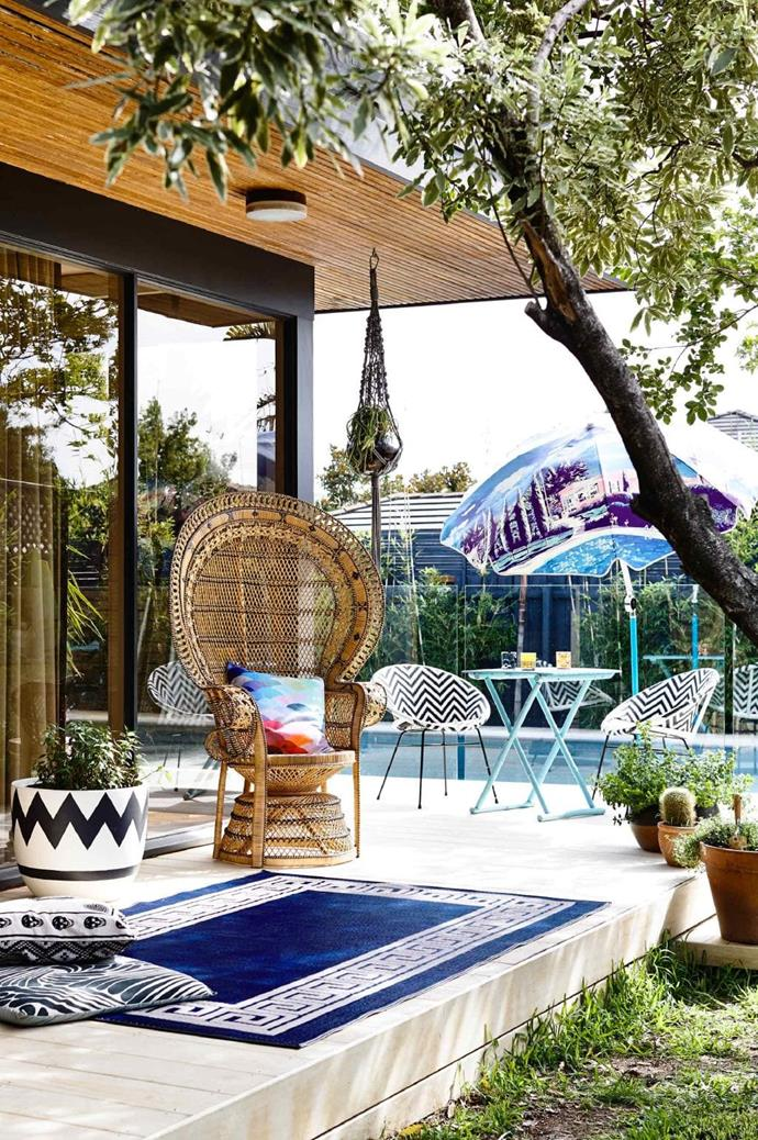 "**Outdoors** The [outdoor deck](https://www.homestolove.com.au/balcony-and-deck-design-ideas-2458|target=""_blank"") has been transformed into the perfect entertaining area."