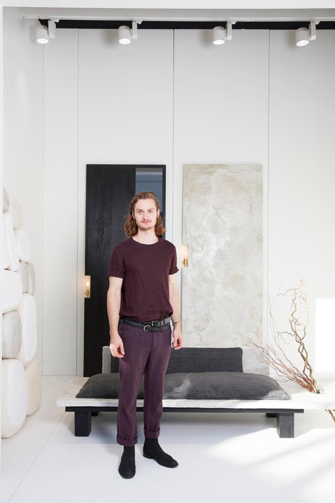 Bailey Fontaine pictured with pieces from his 'Plane' cement series