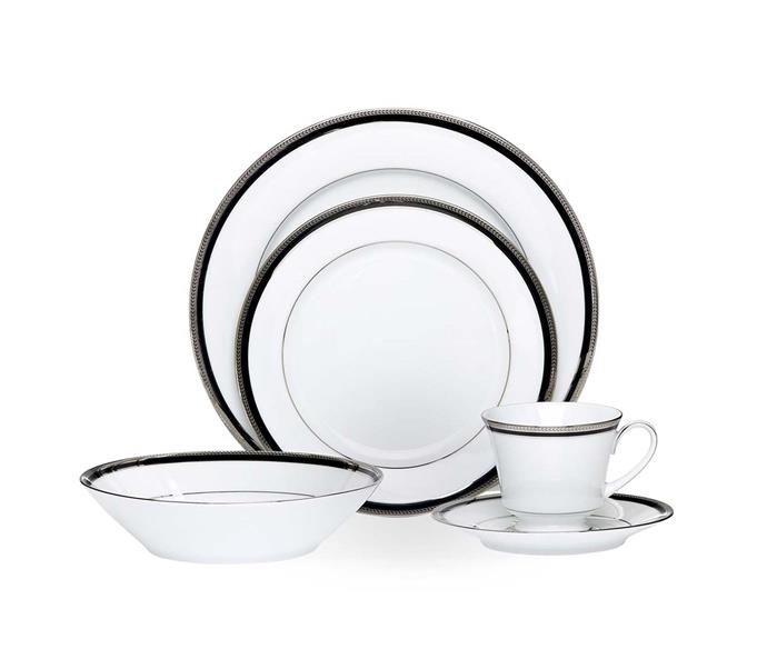 "Toorak Noir 20pce dinner set, $350 or $675/ set for 4 people, from [Noritake](https://noritake.com.au/product/toorak-noir-20pce-dinner-set//|target=""_blank""|rel=""nofollow"")"