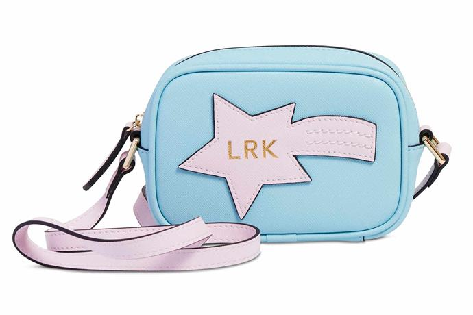 """Mini star-cross body bag in Pale Blue, $99.95, [The Daily Edited](https://www.thedailyedited.com/