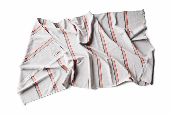 "Mini rainbow towel, $59.95, [Købn](https://kobn.com.au/|target=""_blank""|rel=""nofollow"")."