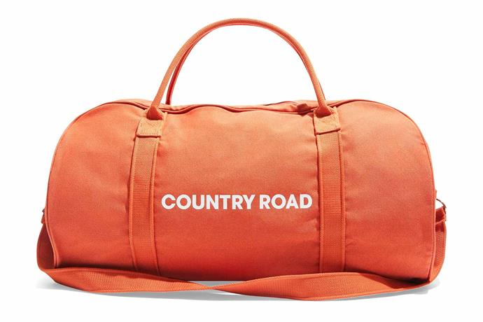 """Zip canvas logo tote in Rust Red, $69.95, [Country Road](https://www.countryroad.com.au/