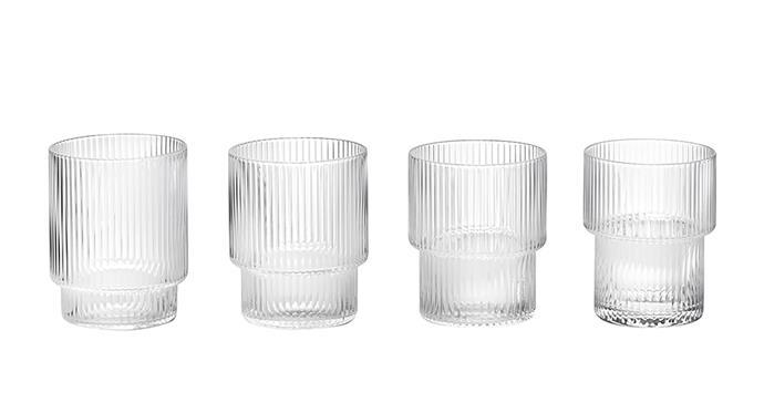 "ferm living ripple glass, $72, from [Amara](https://www.amara.com/au/products/ripple-glass-set-of-4-clear/|target=""_blank""|rel=""nofollow"")"