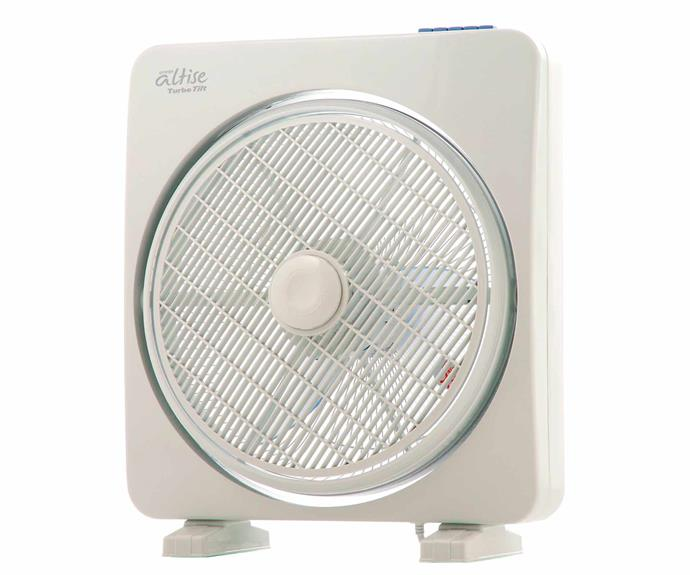 "Omega Altise box fan, $119, [Appliances Online](https://www.appliancesonline.com.au/product/omega-altise-fan-o14b|target=""_blank""|rel=""nofollow"")."