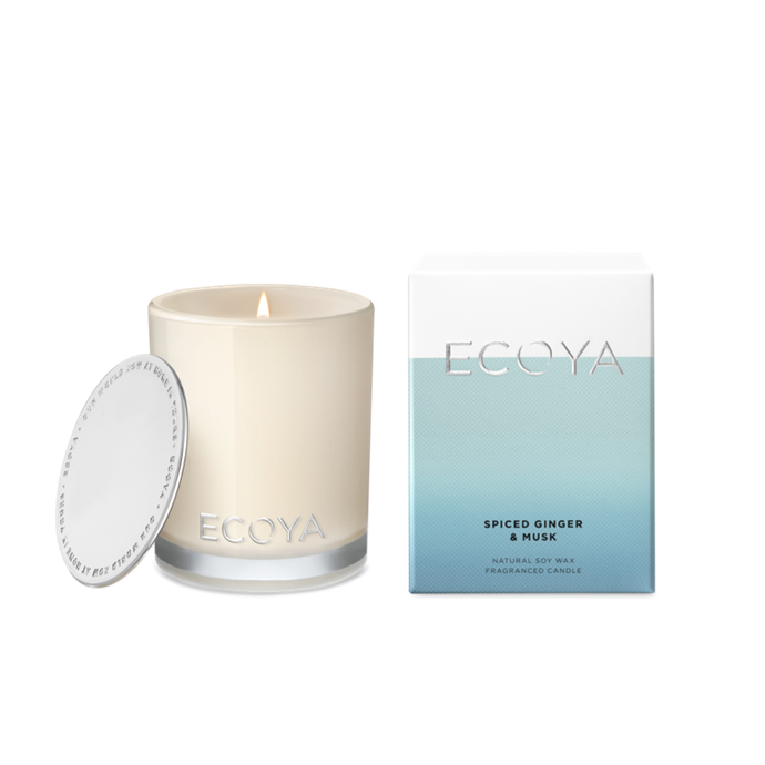 "Ecoya Spiced Ginger and Musk mini Madison jar candle, $19.95, [Ecoya](https://www.ecoya.com.au/collections/spiced-ginger-musk/products/spiced-ginger-musk-mini-madison-jar|target=""_blank""