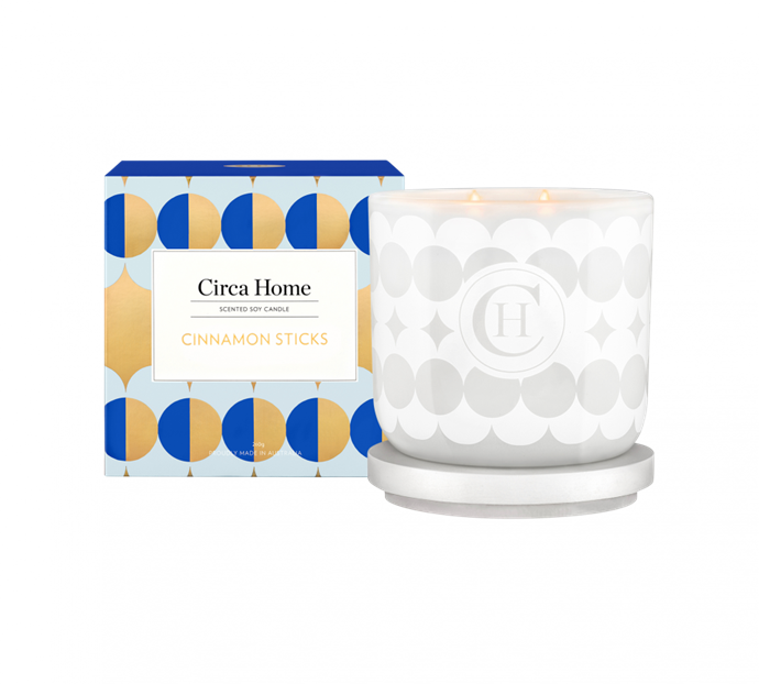 "Cinnamon Sticks classic candle, $34.95, [Circa Home](https://www.circahome.com.au/soy-candles/260g/cinnamon-sticks|target=""_blank""