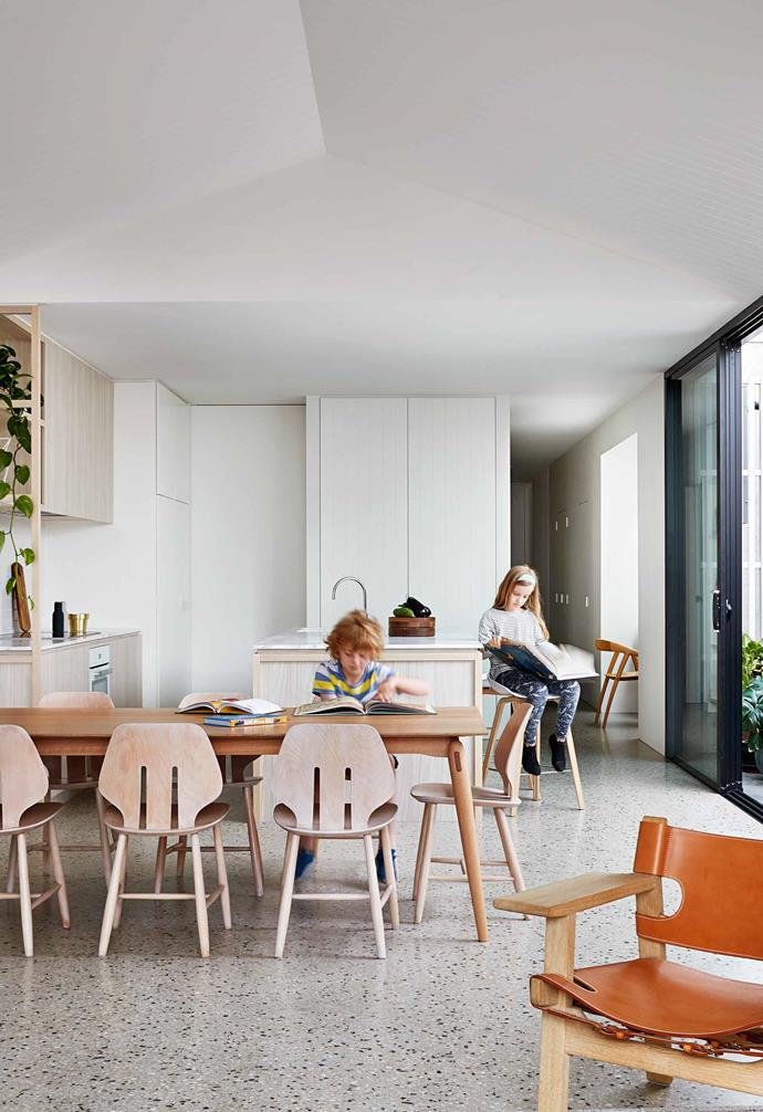 """**Dining area** Owners Rebecca and Rory both have a keen eye for design. """"These J67 chairs by Ejvind A Johansson were restored by our friend Jarrad Turner at [Nord](https://nordmodern.com/