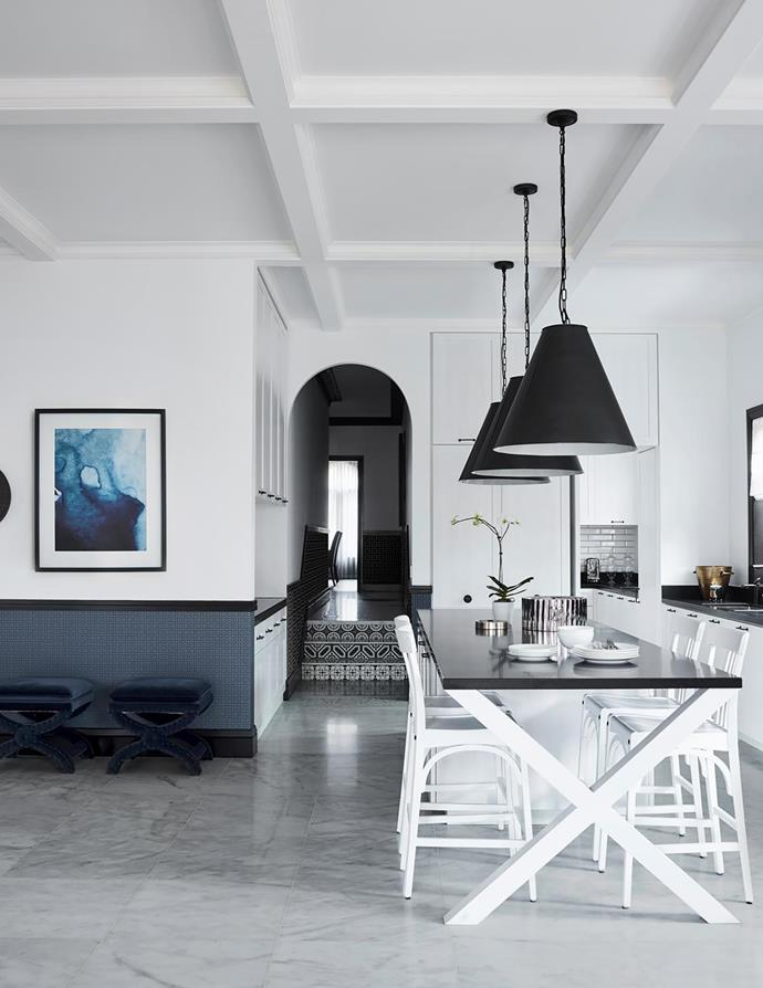 Pendant lights, upholstered stools and counter stools, all Restoration Hardware. Black granite benchtop, RMS Natural Stone & Ceramics. Astoria Square wallpaper, Greg Natale for Porter's Paints. Ethereal artwork, Boyd Blue.