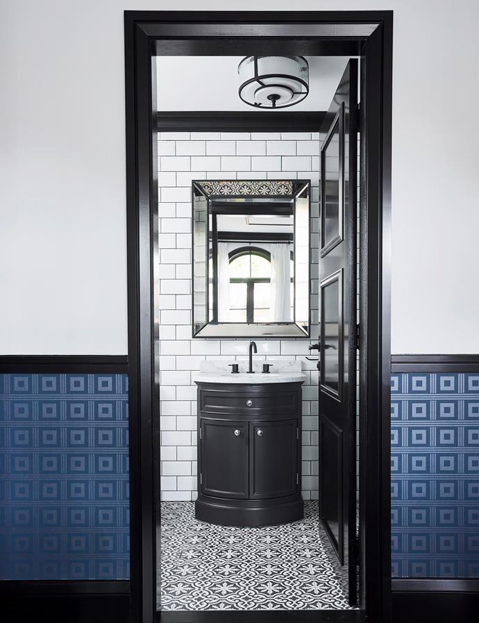Vanity and mirror, both Restoration Hardware. Floor tiles, Di Lorenzo Tiles.