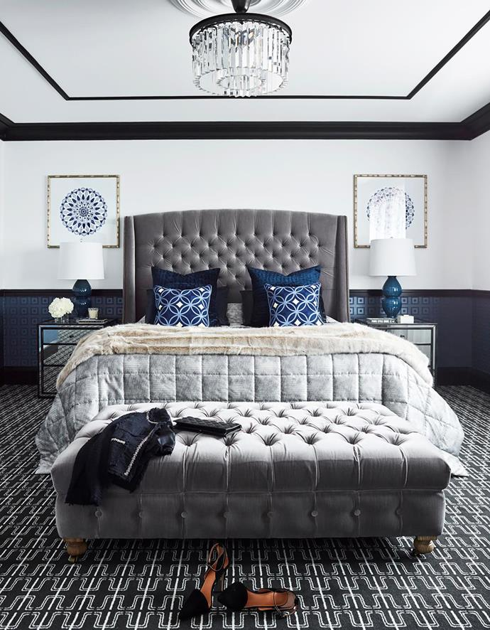 Pendant light, bed, ottoman and mirrored bedside table, all Restoration Hardware. Greg Natale Palm Springs and Diane cushions, Nido. Lamps. James Said. Artworks, Boyd Blue.