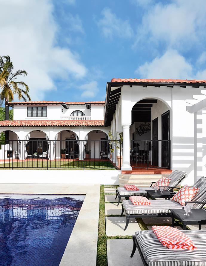 The backyard is designed for year-round entertaining. Klismos sunloungers and side tables, Restoration Hardware. Nova indoor/outdoor cushions, Pottery Barn. Curvado and Medio Curva roof tiles, Bristile Roofing.