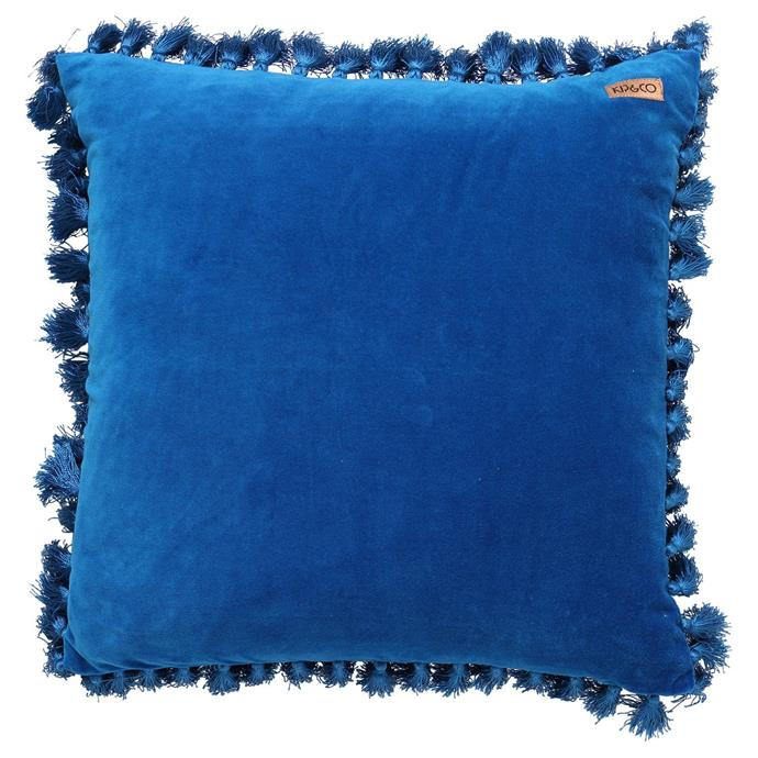 "Mediterranean Blue Velvet Tassel cushion cover, $89, [Kip & Co](https://kipandco.com.au/collections/cushions/products/mediterranean-blue-velvet-tassel-cushion-cover|target=""_blank""